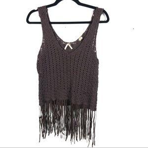 Brown crochet tank top cover fringe bottom P15